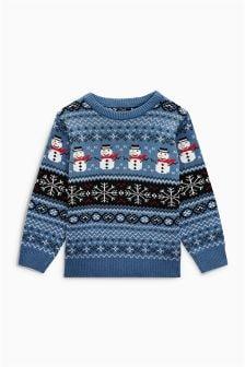 Рождественский джемпер со снеговиком и скандинавским узором (3 мес.-6 лет)