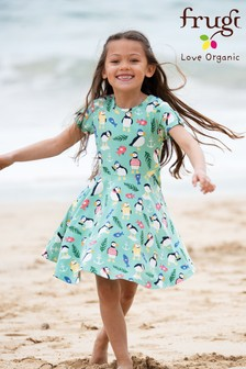 Frugi Organic Blue Puffin Skater Dress