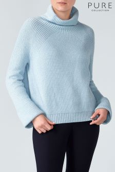 Pure Collection Blue Relaxed Rib Funnel Neck Sweater