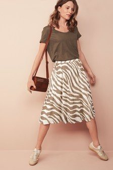 Animal Pleat Midi Skirt