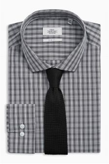 Check Slim Fit Shirt And Tie Set