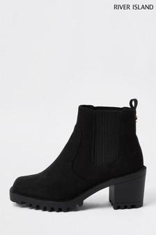 River Island Black Gusset Block Boots
