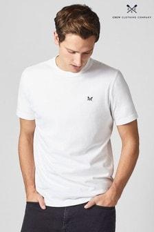 Crew Clothing Company Weißes klassischen T-Shirt mit Runhalsausschnitt