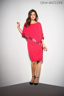 5362e18f2ee Gina Bacconi Red Victoria Sequin Trim Cape Dress