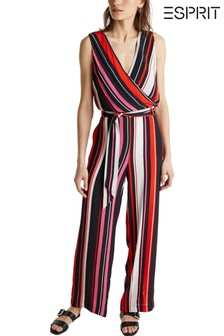 Esprit Black Wrap Side Pattern Jumpsuit