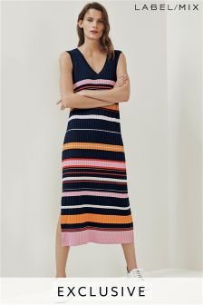 Mix/J.Won Navy Stripe Ribbed Knit Midi Dress