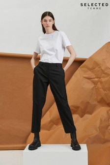 Selected Femme Black Cropped Trousers