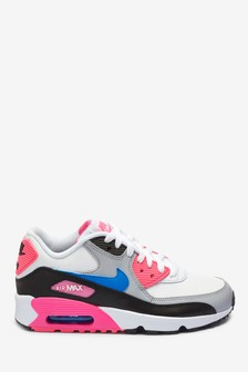 Nike White/Pink Air Max 90 Youth Trainers