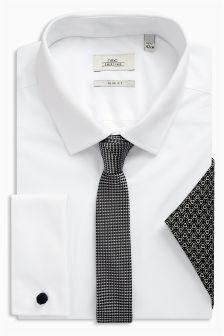 Koszula z szarym krawatem i chusteczką w zestawie