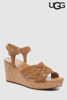 UGG® Chestnut Uma Lattice Strap Wedge
