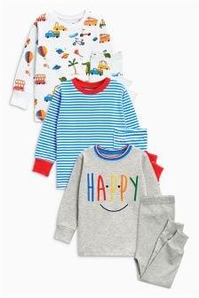 条纹/标语舒适睡衣三件装 (9个月-8岁)
