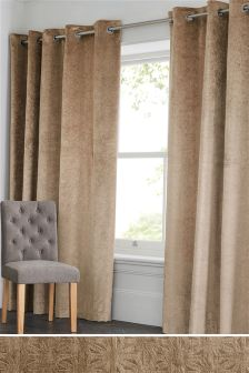 Embossed Geo Velvet Eyelet Curtains
