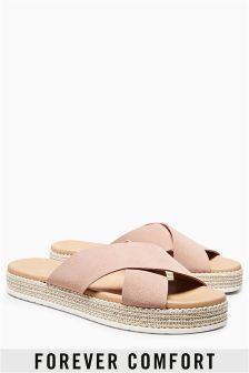 Forever Comfort Leather Crossover Mule Sandals