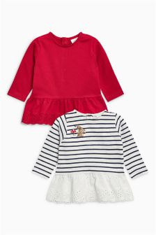 Broderie T-Shirts Two Pack (0mths-2yrs)