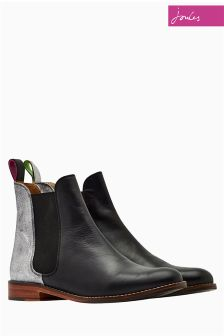 Joules Black/Silver Leather Chelsea Boot