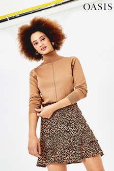 Oasis Camel Pipa Pointelle Polo Jumper