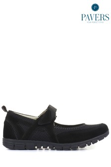 Pavers Black Ladies Touch-Fasten Mary Jane Shoes
