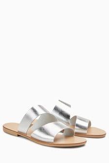 Asymmetric Mule Sandals
