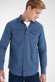 Superdry Blue Long Sleeve Denim Shirt