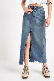 Free People Mid Wash Rhiannon Denim Maxi Skirt