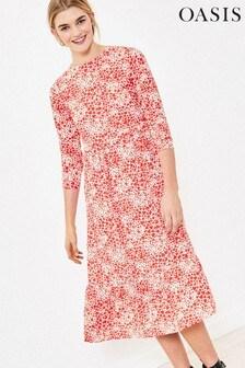 Oasis Red Heart Print Midi Dress