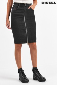 Diesel® Black Zip Denim Midi Skirt