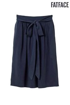 FatFace Blue Copper & Black Adele Tencel Midi Skirt
