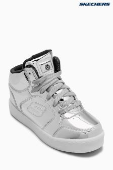 Skechers® Silver Metallic Mid Top Lace Up Sneaker