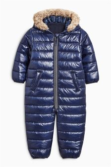 High Shine Faux Fur Trimmed Snowsuit (3mths-6yrs)