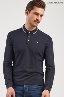 Emporio Armani Navy Tipped Long Sleeve Poloshirt