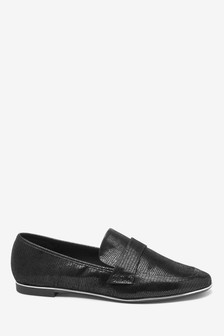 Metallic Detail Loafers