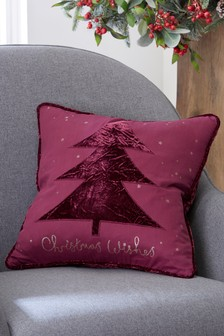 Christmas Wish Velvet Tree Cushion
