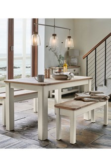 Huxley Painted Dining Table & Bench Set