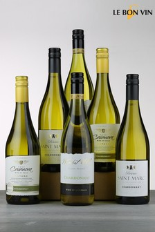 Set of 6 Le Bon Vin World Chardonnay White Wine Selection