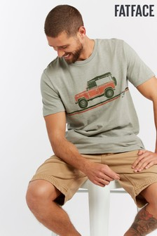FatFace Green Land Rover Stripe Graphic Tee