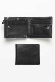 Leather Bifold Zip Wallet