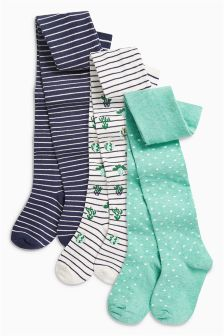 Cactus Stripe Tights Three Pack (Younger)