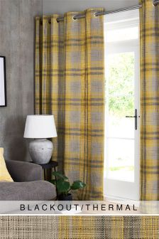 Astley Check Eyelet Blackout/Thermal Curtains