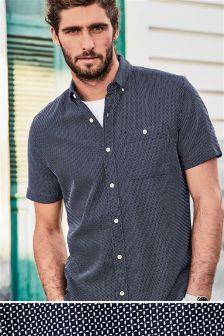 Teksturowana koszula z krótkim rękawem