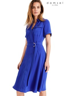 Damsel In A Dress Blue Ennis Relaxed Trench Dress