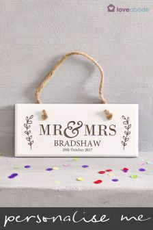 Personalised Mr and Mrs Wooden Sign by Loveabode