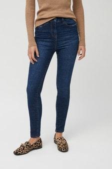 Классические джинсы облегающего кроя с завышенной талией