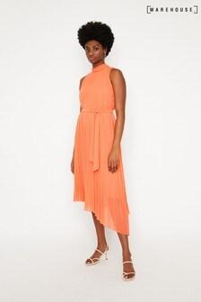 Warehouse Orange Pleated Halter Midi Dress