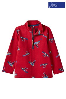 Joules Red Dale Printed Half Zip Sweatshirt