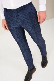 Patterned Skinny Fit Tuxedo Suit: Trousers