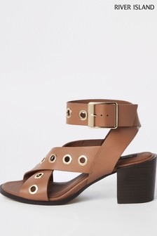 River Island Tan Leather Eyelet Sandal