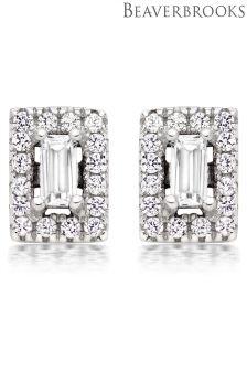 Beaverbrooks Silver Cubic Zirconia Halo Earrings