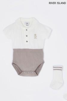 River Island Ecru Marl 2-In-1 Knit Babygrow