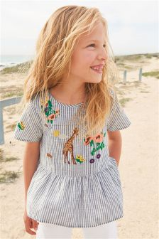Embroidered Stripe Blouse (3-16yrs)