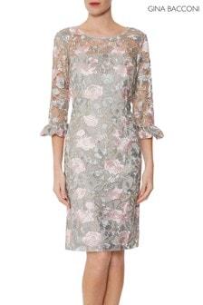 Gina Bacconi Grey Darlene Embroidered Dress